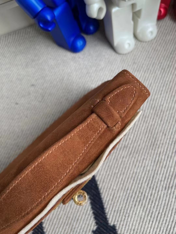Taiwan Hermes MiniKelly Pochette Boblis Suede 麂皮 37 Gold 金棕色 金扣