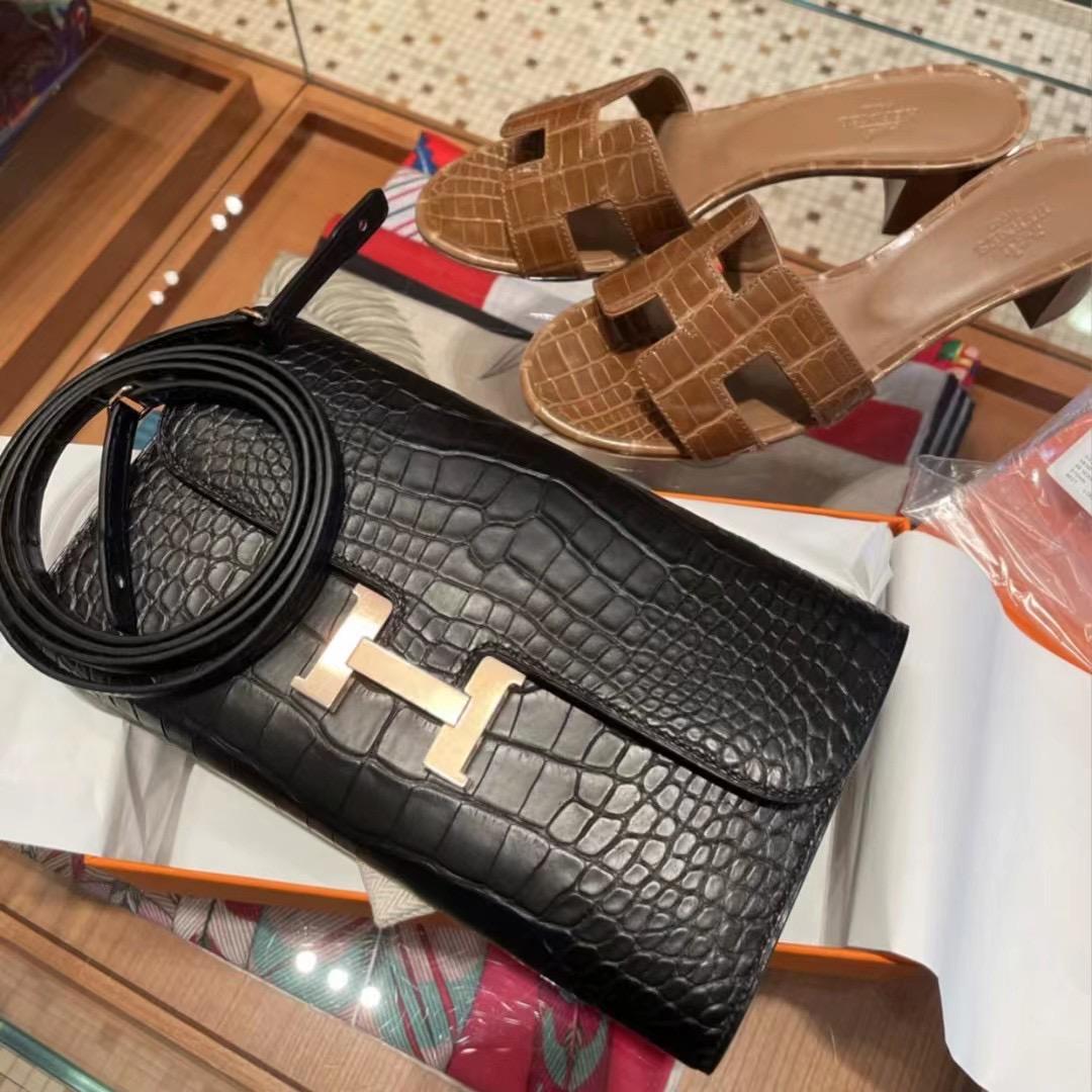 Hermes Constance long wallet to go alligatore Mississippiensis 89 Noir 黑色