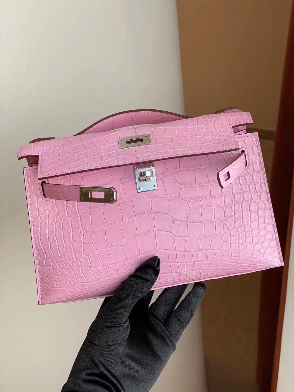 Hong Kong Hermes Mini Kelly Pochette 5P pink 櫻花粉 霧面方塊 美洲鱷魚