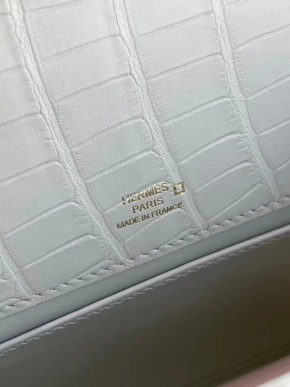 Hong Kong Hermes Mini Kelly Pochette i2 nata 奶油白 霧面方塊 美洲鱷魚