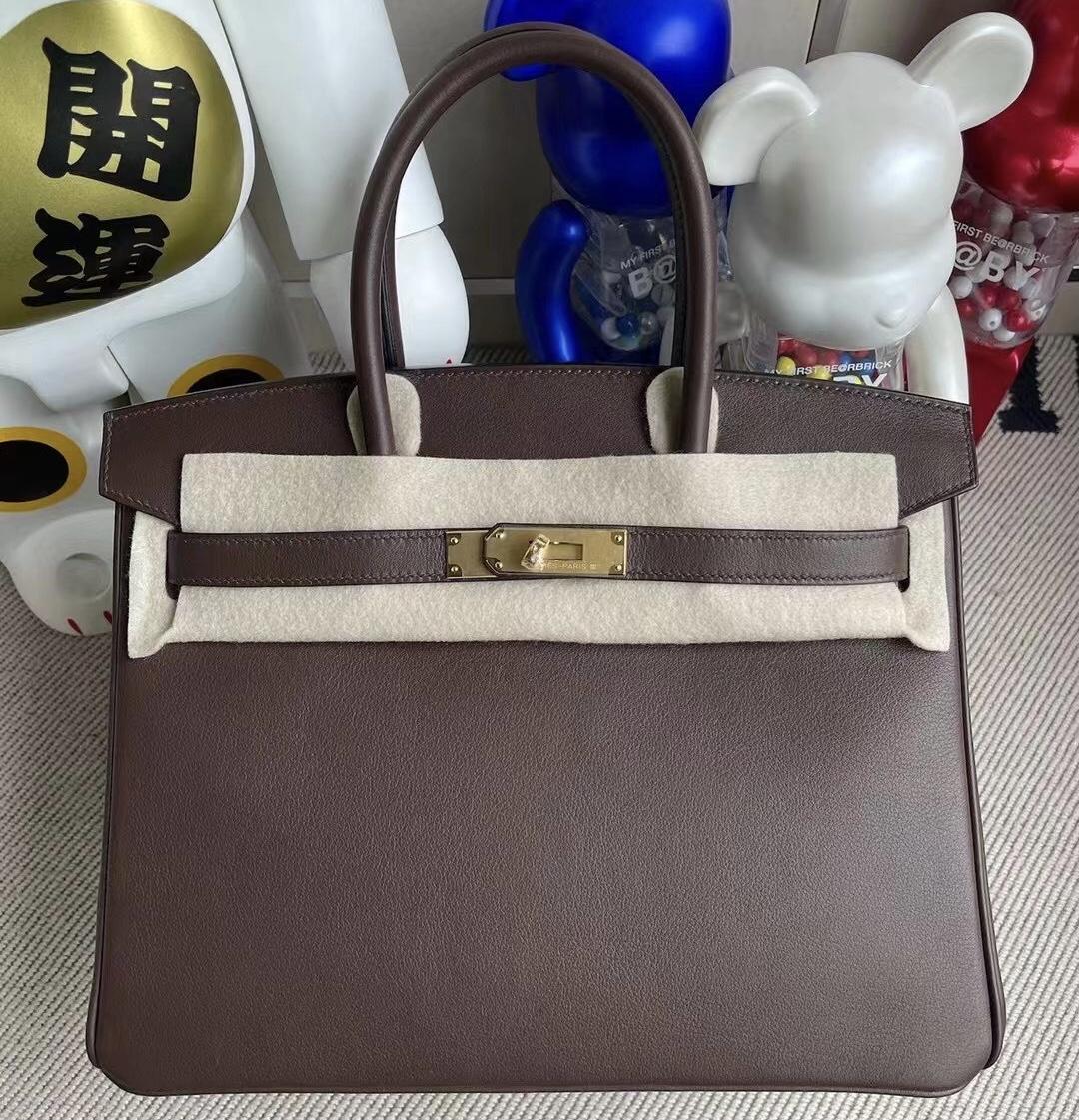 Hong Kong Hermes Birkin 30cm Swift CK47 chocolate 巧克力色 金扣