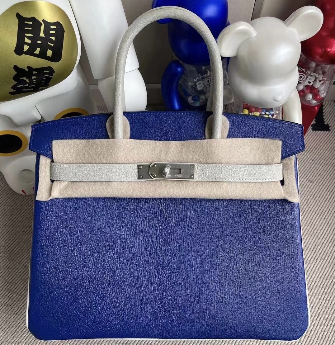 Hermes Birkin 30cm Chevre 山羊皮 7T Blue Electric 80 Gris Perle 磨砂銀扣
