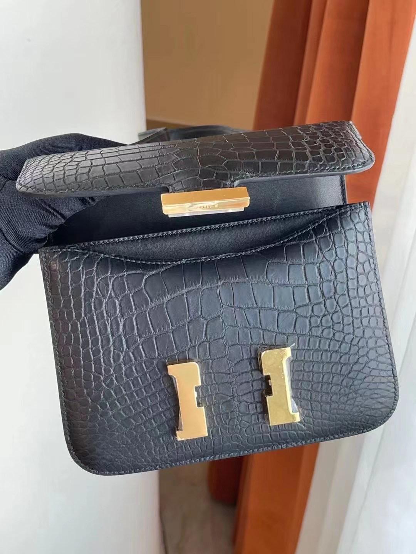 Hong Kong Hermes Constance Mini 19 霧面美洲鱷魚89 Noir 黑色 金扣