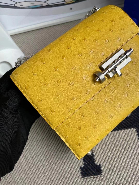 愛馬仕包包官網價格查詢 Hermes Verrou Mini Ostrich 9D  Amber 琥珀黃 銀扣