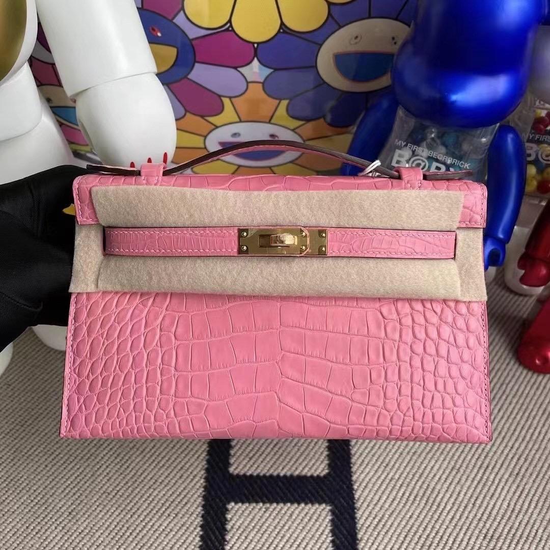 愛馬仕包包官網價格查詢 Hermes MiniKelly Pochette 5P pink 櫻花粉 霧面美洲鱷魚