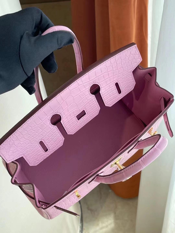 Hong Kong Hermes Birkin 25cm 5P Pink 櫻花粉 霧面方塊 美洲鱷魚