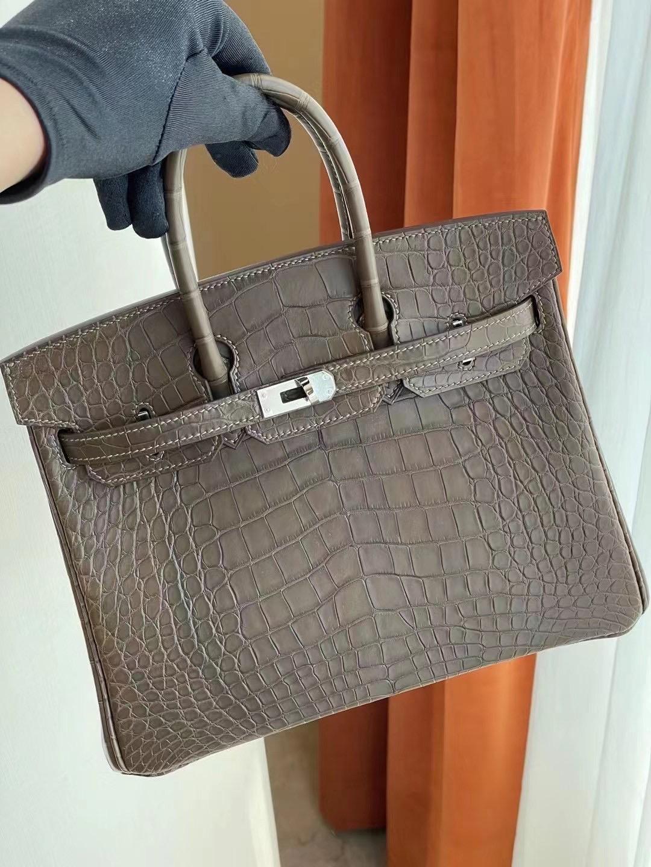 愛馬仕鉑金包官網價格 Hermes Birkin 25cm 18 Etoupe 大象灰 美洲鱷魚銀扣