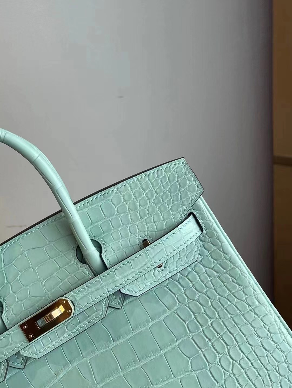 Hong Kong Hermes Birkin 25cm 6U Vert Dfau 綠色 霧面美洲鱷魚銀扣