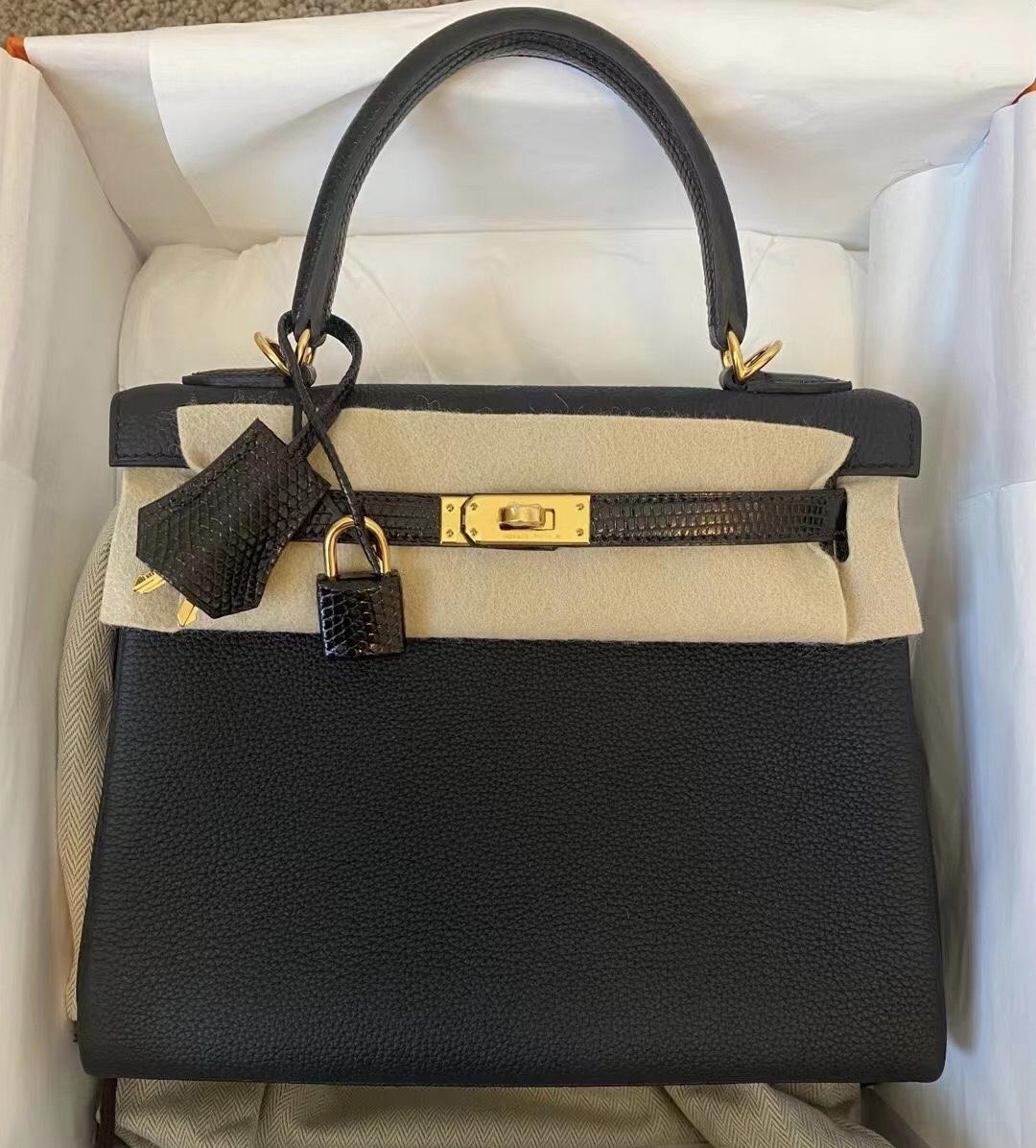 Hong Kong Hermes Kelly 25cm Touch Togo/蜥蜴皮 CC89 Noir 黑色 金扣