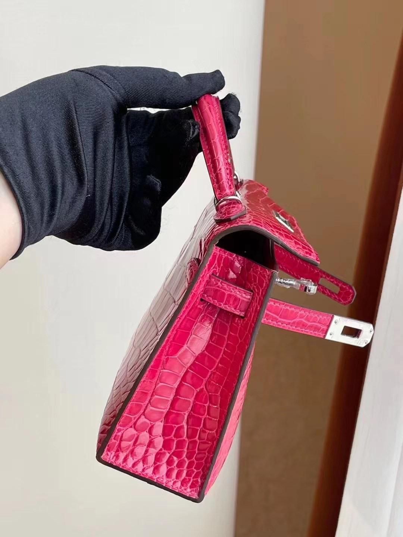 Saudi Arabia Hermes Kelly Mini II 2代 I6 Rose Extrême 極致粉 美洲鱷魚