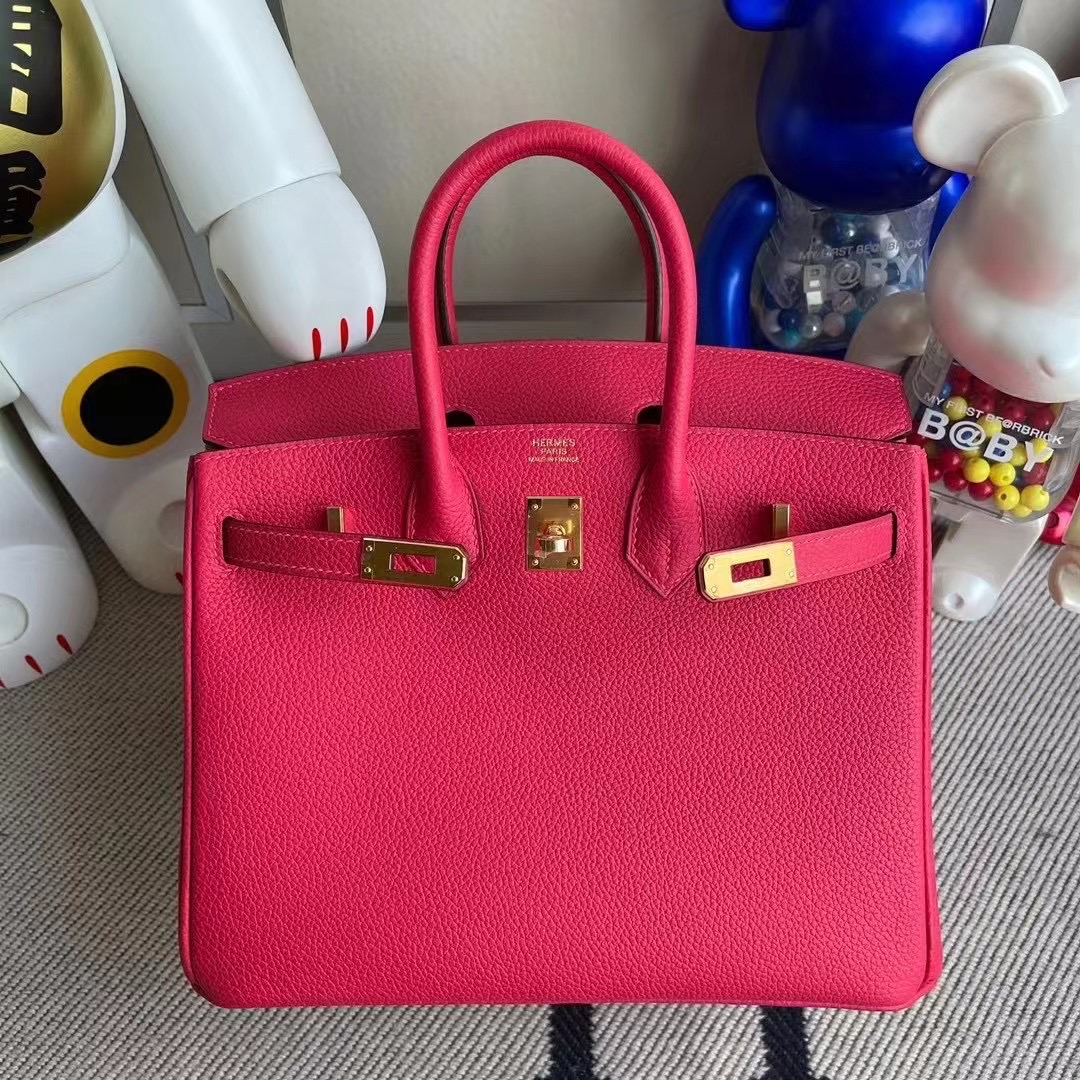 Bahrain Hermes Birkin 25cm Togo I6 Rose Extrême 極致粉 金扣 全手工蜜蠟線縫製