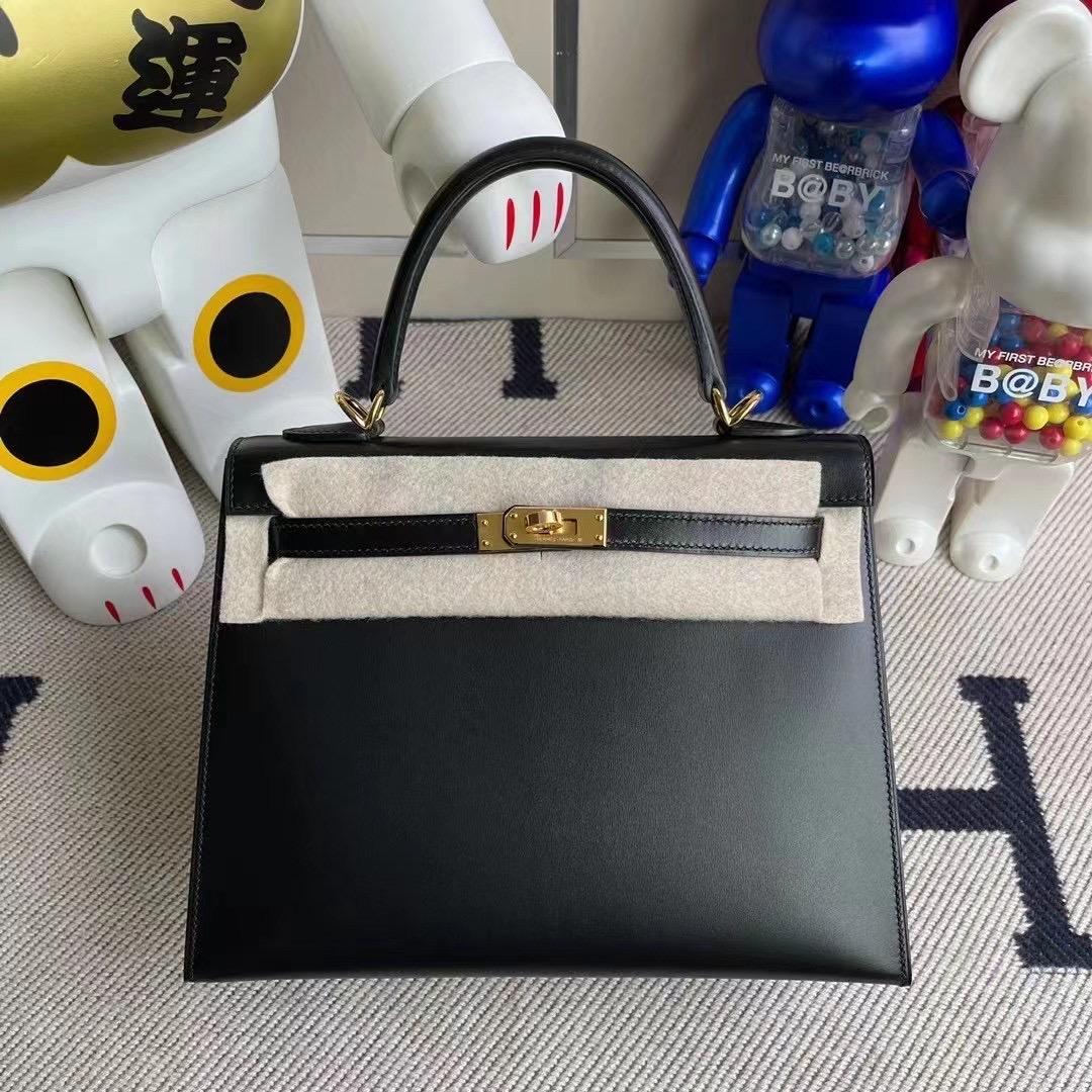 Qatar Doha Hermes Kelly 25cm CC89 Noir 黑色 BOX 金扣