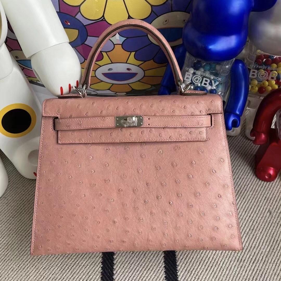 愛馬仕凱莉包25寸價格 Hermes Kelly 25cm Ostrich 94 TerreCuite 陶瓷粉 銀扣