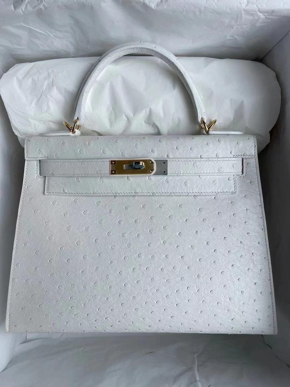 United Arab Emirates Dhabi Hermes Kelly 28cm Ostrich 01 Pure white 純白色