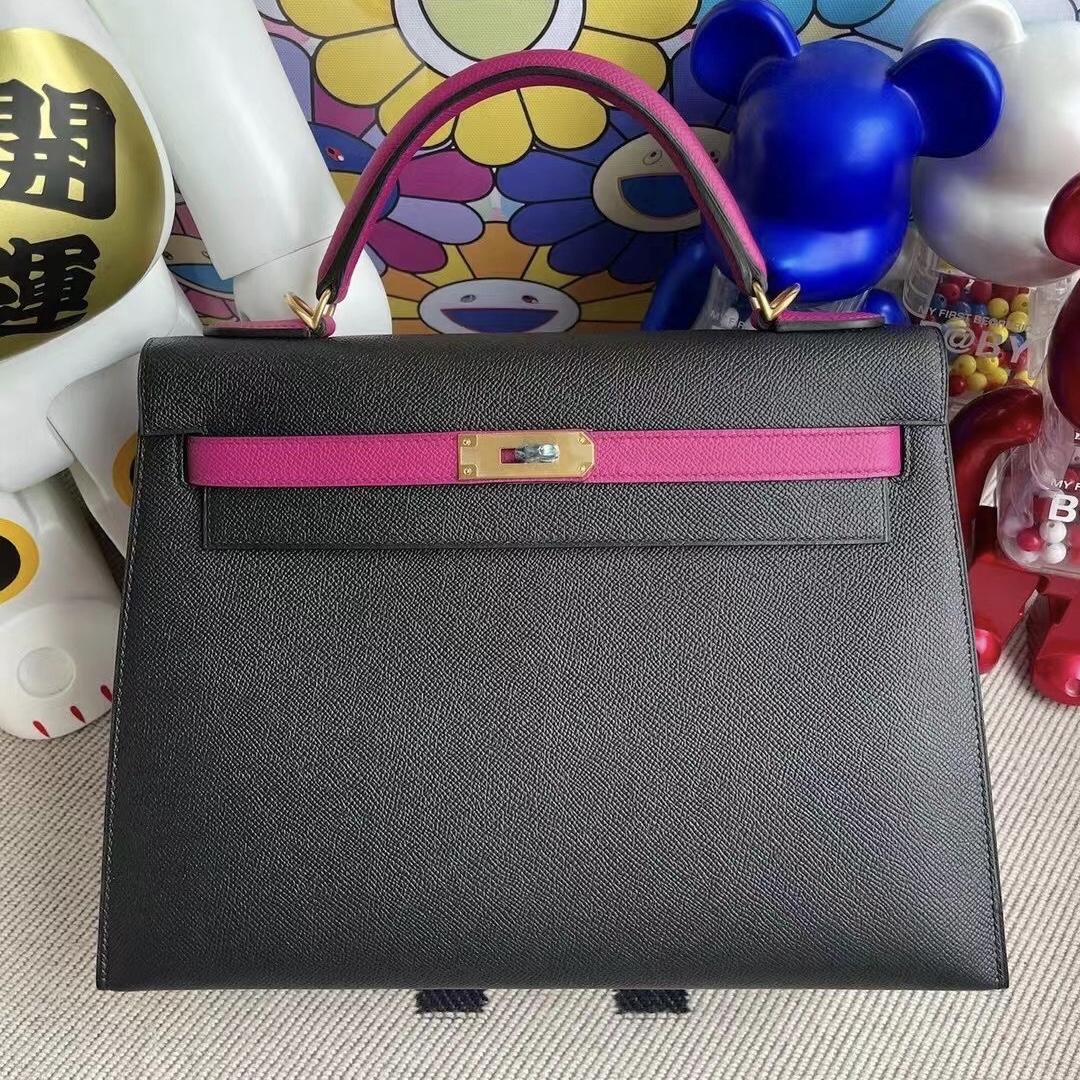 愛馬仕凱莉包32寸價格 Hermes Kelly 32 Epsom 89 Noir L3 Rose Poupre磨砂金扣