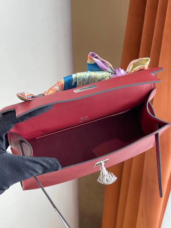香港南區石澳愛馬仕包包 Hermes MiniKelly Pochette Swift K1 Rouge Grenat 石榴紅