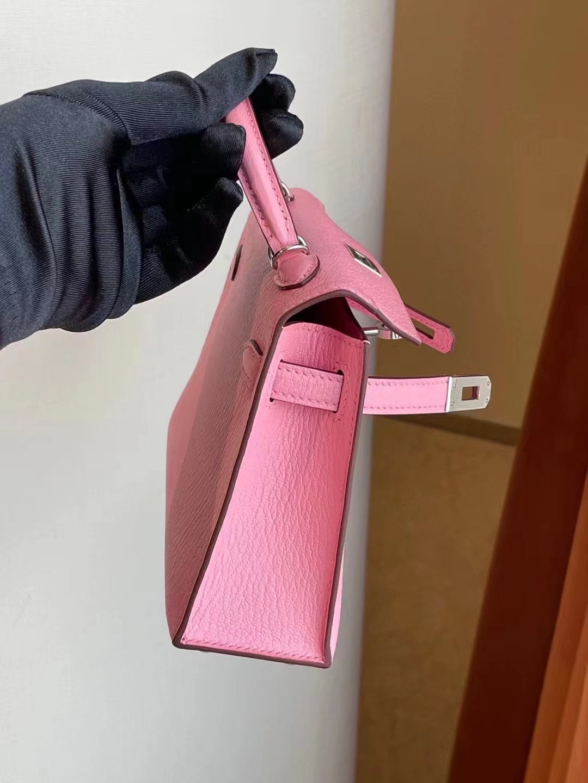 香港南區淺水灣 Hermes kelly Mini II 2代 Chevre 山羊皮 1Q Rose Confetti 銀扣