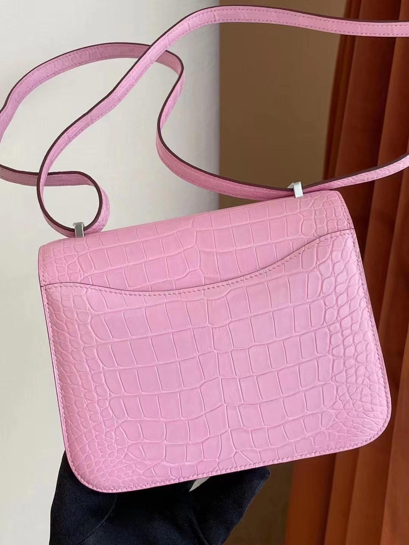 愛馬仕康康包官方售價 Hong Kong Hermes Constance Mini 5P Pink 櫻花粉美洲鱷魚