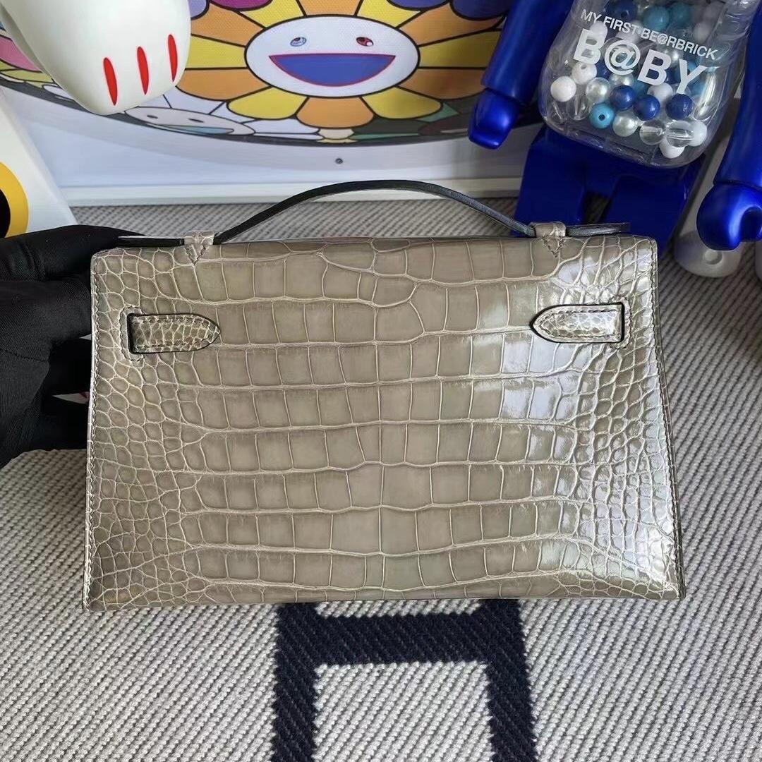 Hong Kong Hermes MiniKelly Pochette 81 gris tourterelle 斑鳩灰 美洲鱷