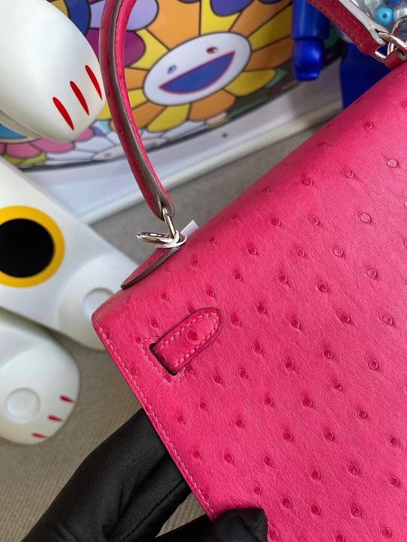 愛馬仕凱莉包25寸價格 Hermes Kelly 25 Ostrich 南非鴕鳥皮 E5 Rose Tyren 桃紅色