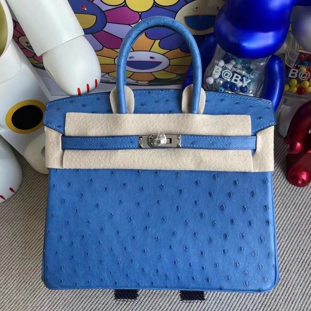 愛馬仕bk25香港價格 Hermes Birkin 25 Ostrich 南非鴕鳥皮 7Q Blue Mykonos 希臘藍