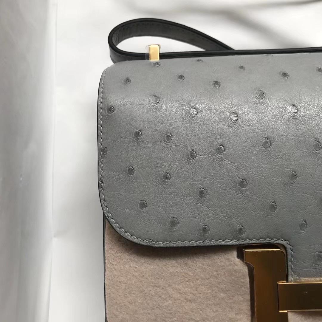 愛馬仕康康包專櫃價格 Hermes Constance mini 19cm Ostrich 進口南非鴕鳥皮