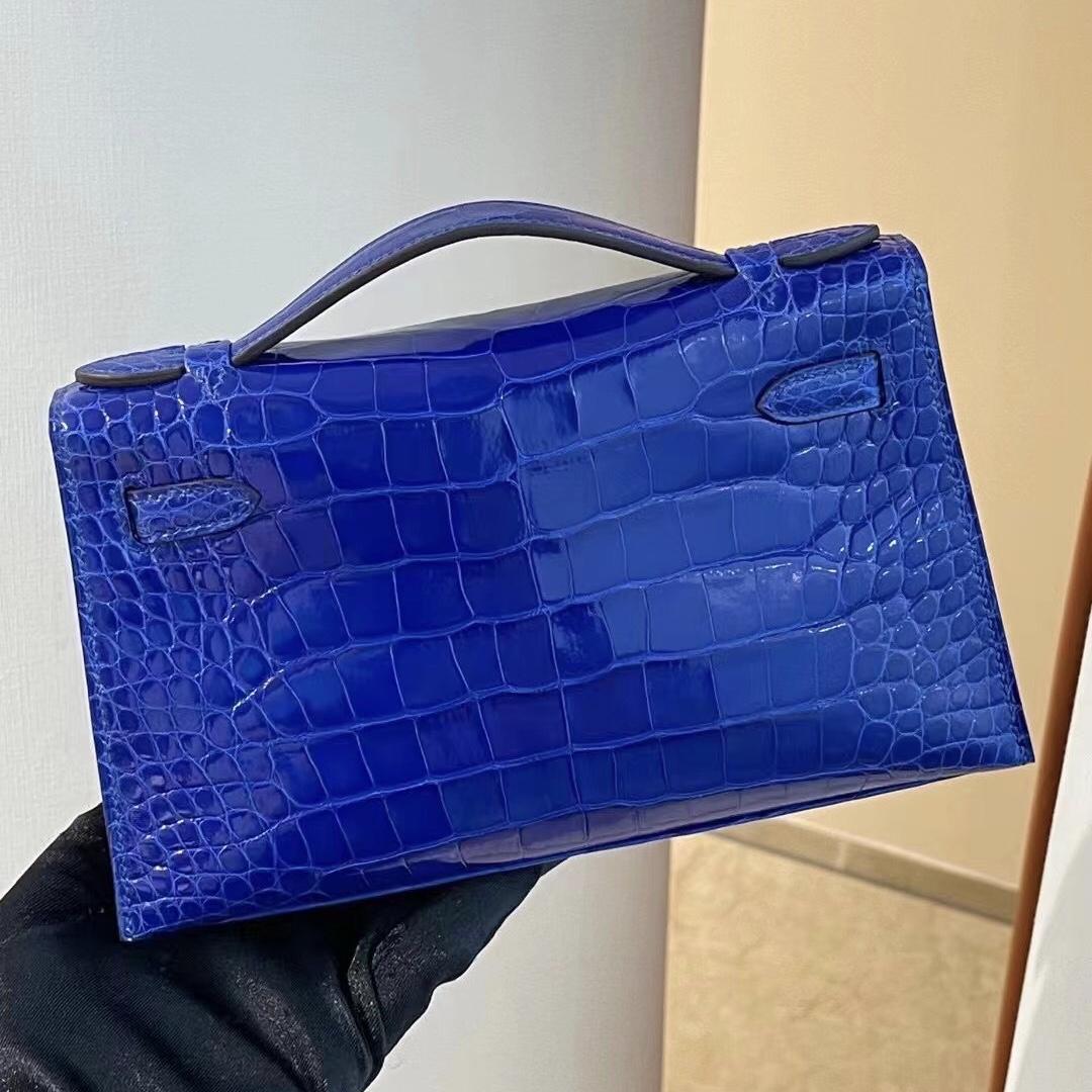 愛馬仕迷你凱莉包一代價格 Hermes MiniKelly Pochette 7T Blue Electric 電光藍美洲鱷魚
