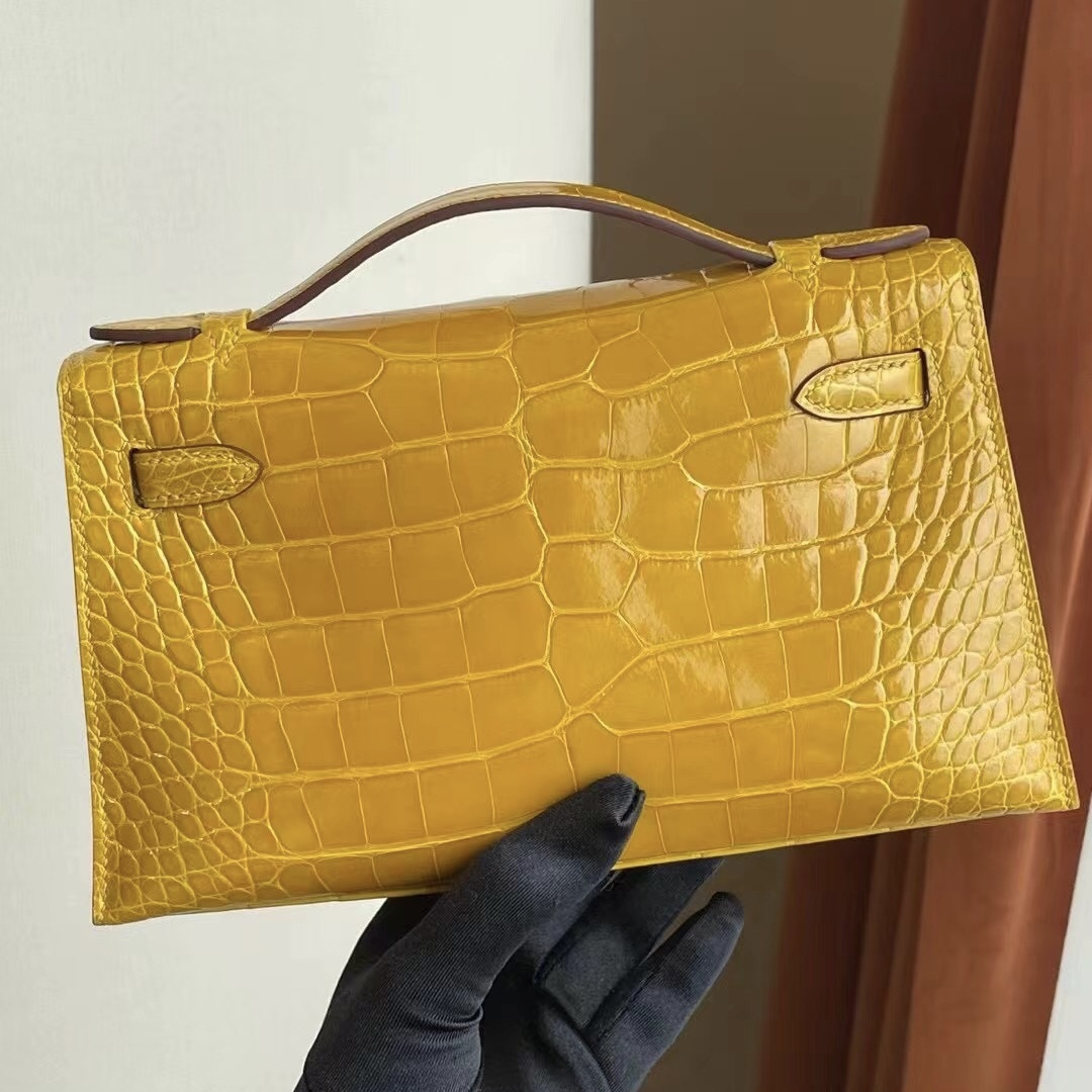Hermes MiniKelly Pochette 9D Jaune Amber 琥珀黃 亮面方塊 美洲 鱷魚