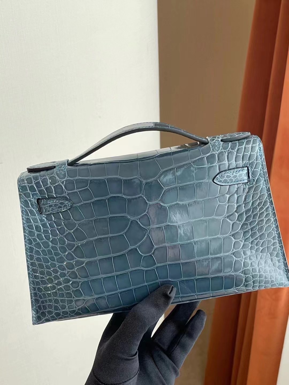 Hong Kong Hermes MiniKelly Pochette N7 Blue Tempete 風暴藍 美洲鱷