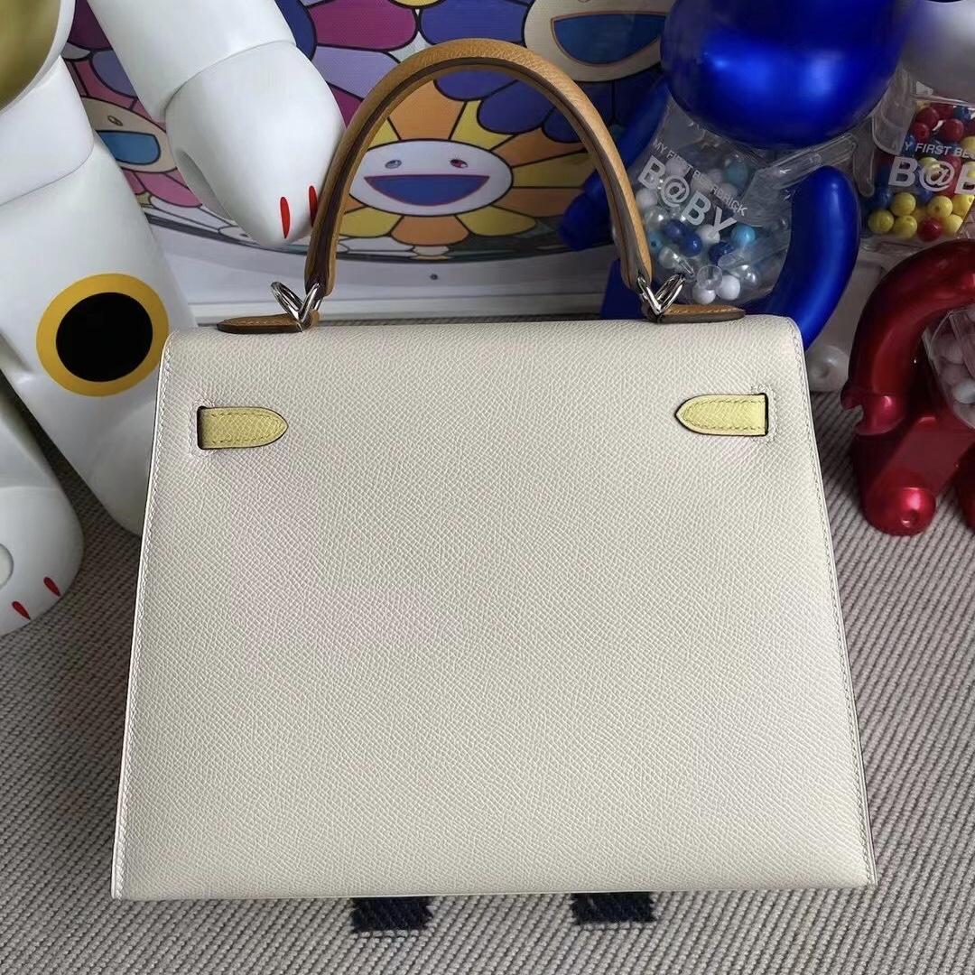 Hong Kong Hermes Kelly25 Epsom I2 Nata 2S Seasme 1Z jaune poussin