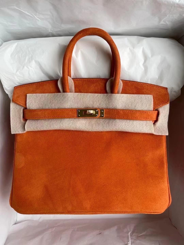 Hong Kong Hermes Birkin25 Boblis Suede羊皮反絨麂皮 93 Orange 橙色 金扣