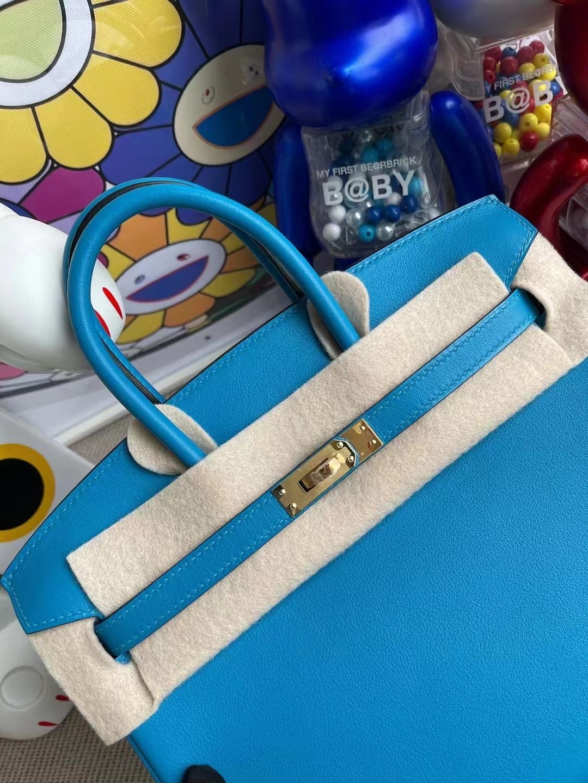Hong Kong Hermes Birkin 25cm Swift 0F Bleu frida 弗裏達藍 金扣