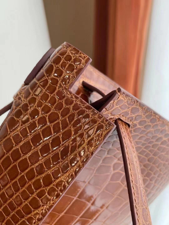 Hong Kong Hermes Mini Kelly Pochette 31 Miel 蜜糖棕 亮面美洲鱷魚