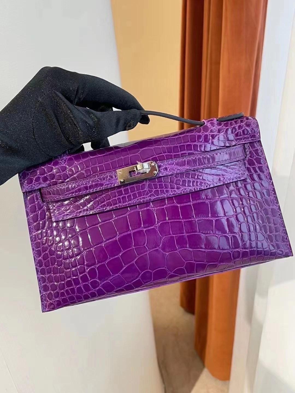 Hong Kong Hermes Mini Kelly Pochette 9G AMETHYSTE 水晶紫美洲鱷