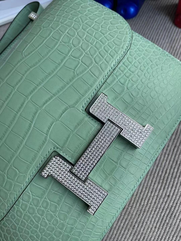 Australia Hermes Constance 24 美洲鱷6U Peppermint Green 新薄荷綠 配水晶鉆扣