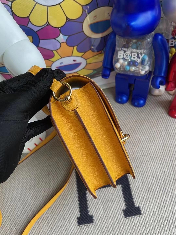 Saudi Arabia Hermes Roulis Mini Evercolor 9D Jaune Amber 琥珀黃 金扣