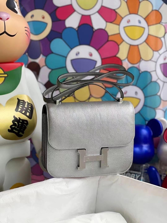 United Arab Emirates Hermes Constance Mini Chevre 山羊皮 05 Argente 銀色內拼89 Black