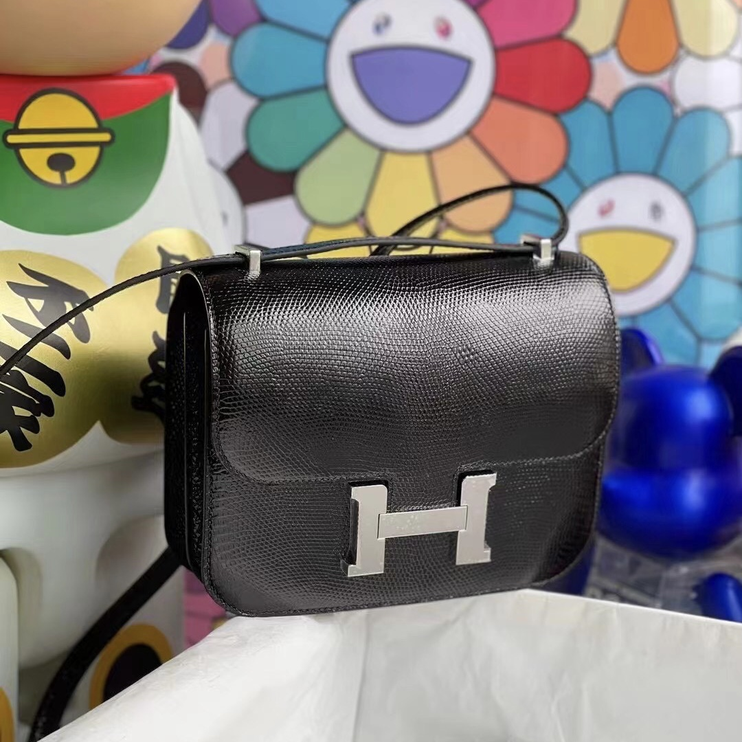 Bahrain Hermes Constance Mini Lizard 89 Black 黑色 蜥蜴皮 全手工縫製 銀扣