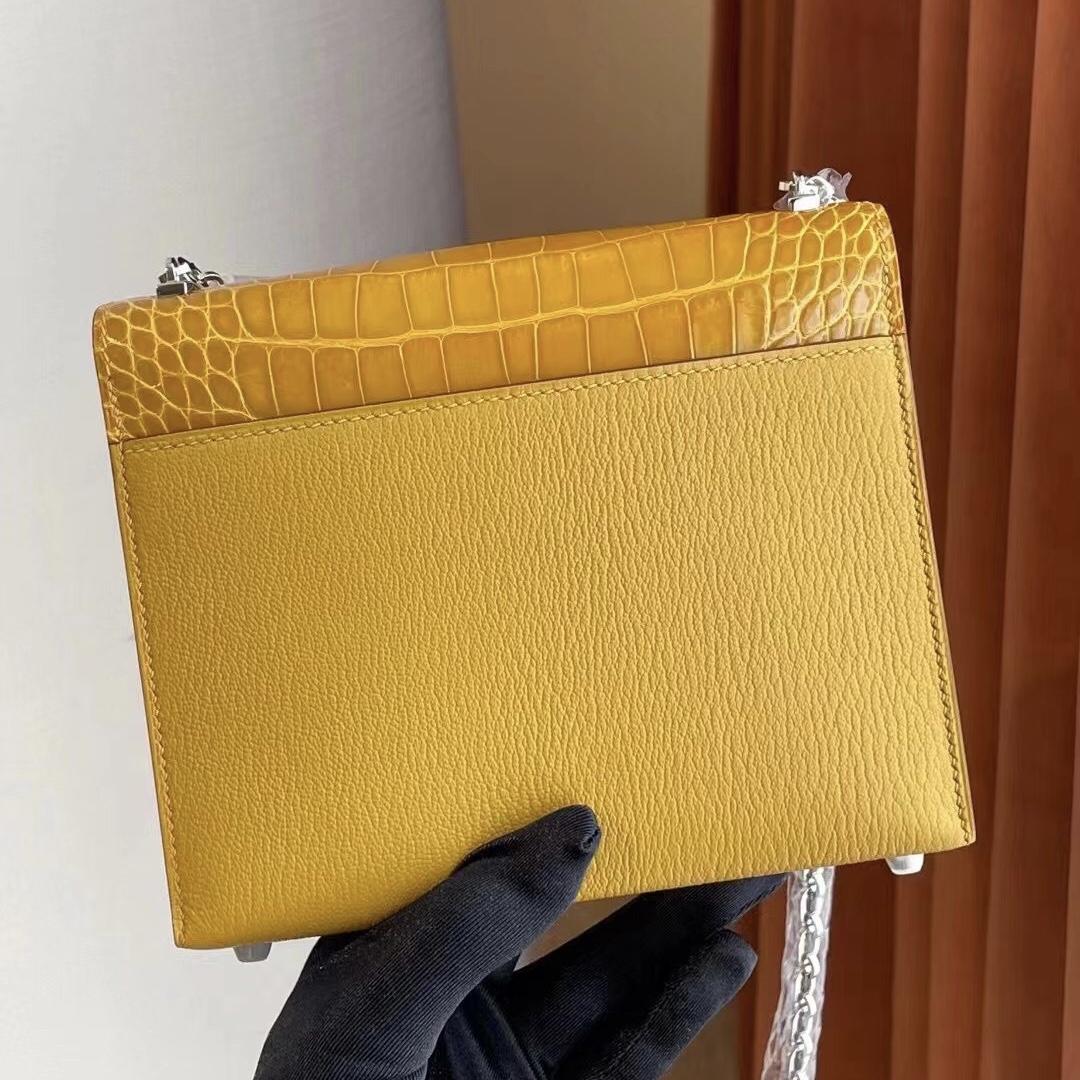 Dhabi Hermes Verrou Mini Touch 9D 琥珀黃 Amber  Chevre山羊皮Crocodile