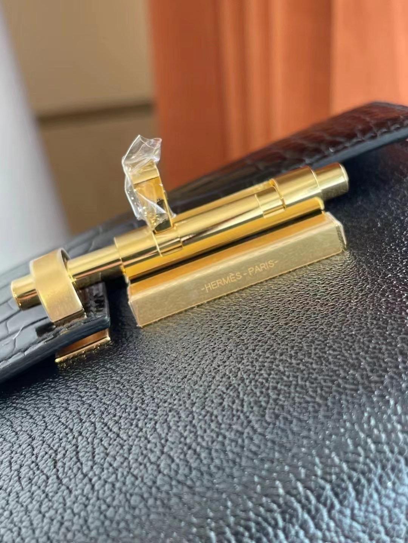 Kuwait Dhabi Hermes Verrou Mini Touch 89 Noir 黑色Crocodile拼Chevre 山羊皮