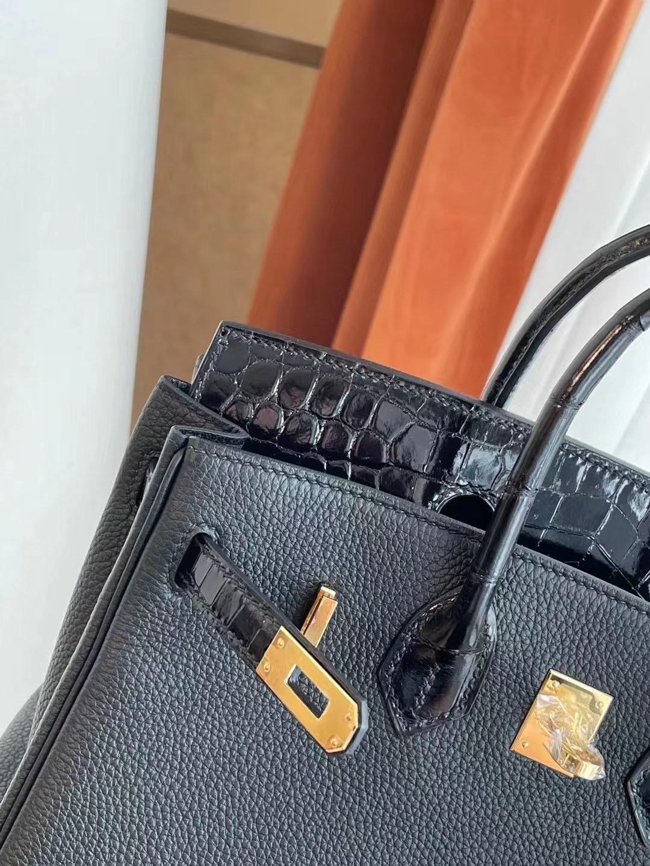 Saudi Arabia Hermes Birkin Touch 25cm CC89 Noir 黑色 Crocodile 金扣