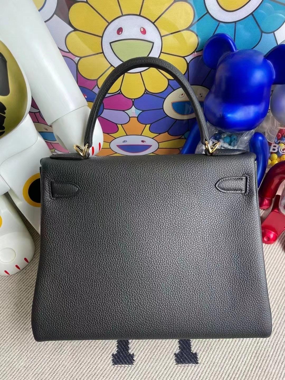 Qatar Doha Hermes kelly 28cm 89 Noir 黑色 Togo 全手工蜜蠟線縫製 金扣