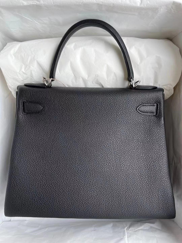 Kuwait Dhabi Hermes kelly 28cm 89 Noir 黑色 Togo 全手工蜜蠟線縫製 银扣