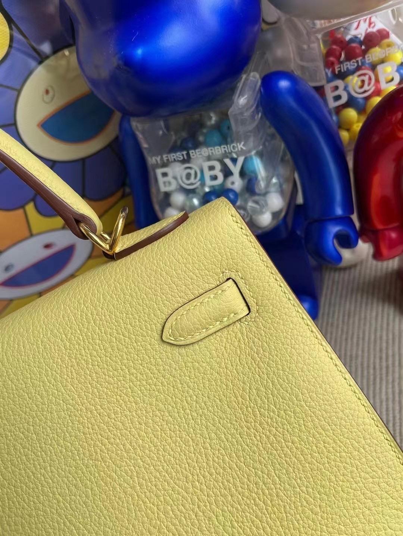 愛馬仕凱莉包官方價格 Hermes Kelly 25cm Togo 1Z 小雞黃 jaune poussin 金扣 外縫