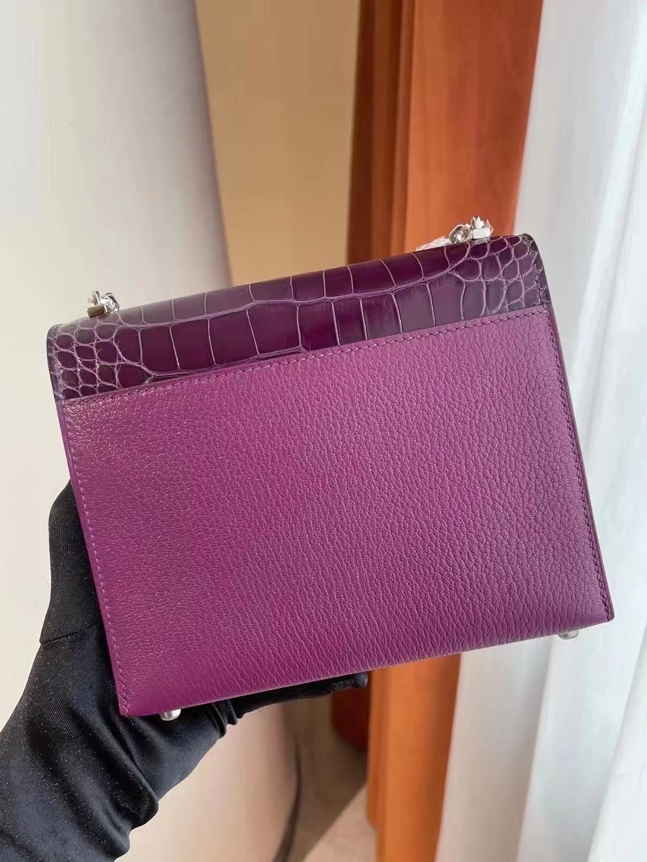 Hermes Verrou Mini touch crocodile 山羊皮 N5 Cassis 黑加侖 加侖紫