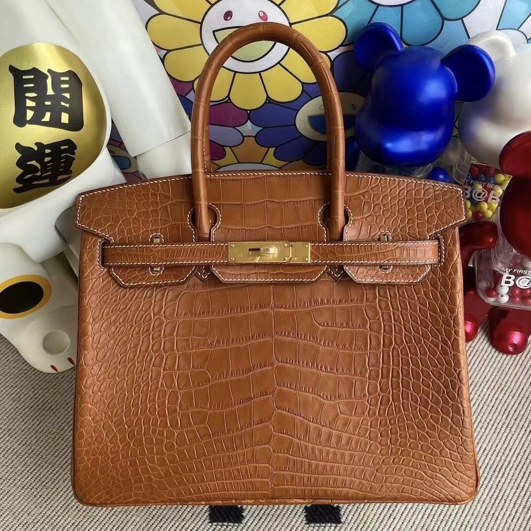 香港愛馬仕鉑金包鱷魚皮 Hermes Birkin 30 霧面美洲鱷魚37 Gold 金棕色 金扣