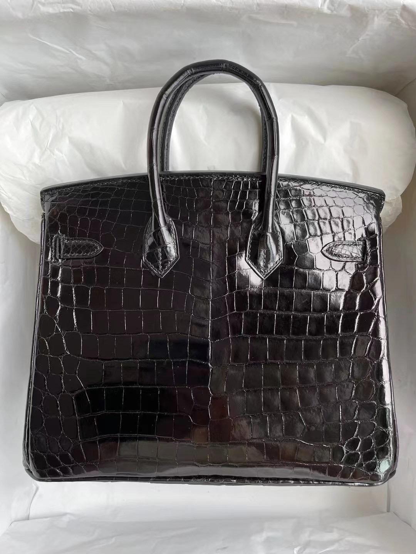 愛馬仕鉑金包鱷魚皮 Hermes Birkin 25cm 亮面 尼羅鱷魚89 Noir 黑色 金扣