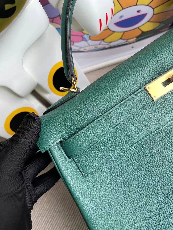 愛馬仕凱莉包32價格 Qatar Doha Hermes Kelly 32 Togo Z6 Malachite 孔雀綠