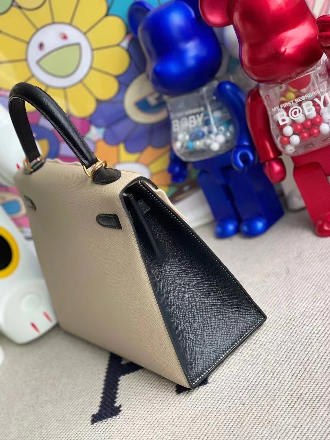 Saudi Arabia Hermes Kelly 25 Epsom S2 Trench 89 Noir 黑色 Frosted gold button