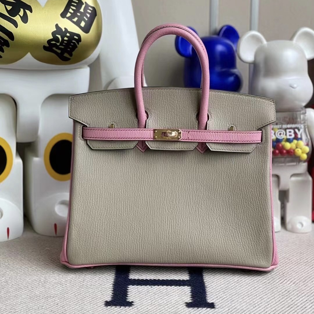 Los Angeles USA Hermes Birkin 25 Chevre 山羊皮 81 Gris Tourterelle 5P Pink 櫻花粉